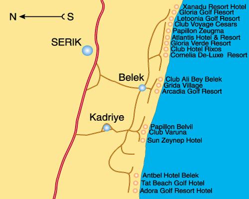 Карта отелей курорта Белек (Belek), схема расположения отелей белек.
