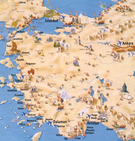 На карте курорты и города турции